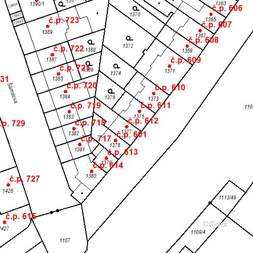 Katastrální mapa Stavební objekt Zábrdovice 612, Brno
