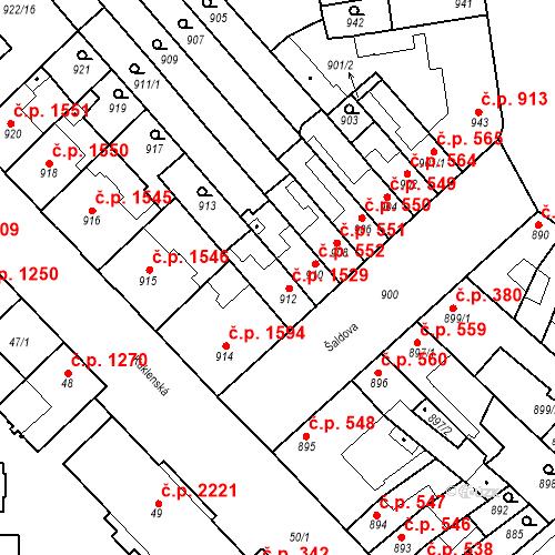 Katastrální mapa Stavební objekt Židenice 1529, Brno