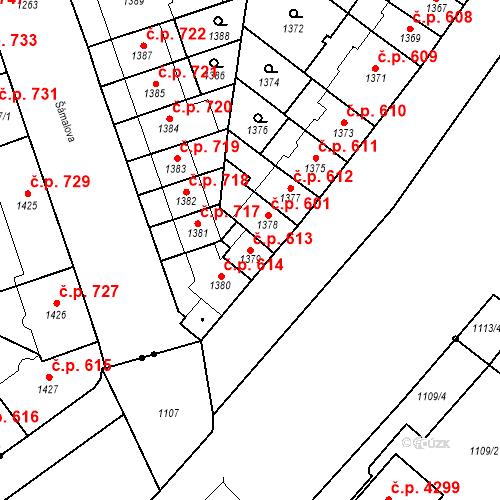 Katastrální mapa Stavební objekt Zábrdovice 613, Brno