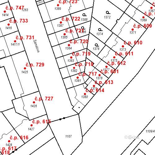 Katastrální mapa Stavební objekt Zábrdovice 717, Brno