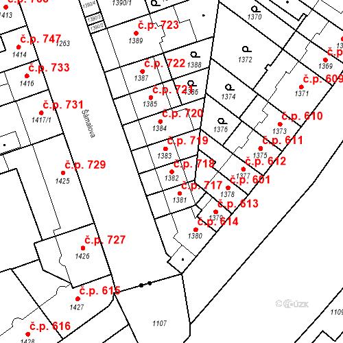 Katastrální mapa Stavební objekt Zábrdovice 718, Brno