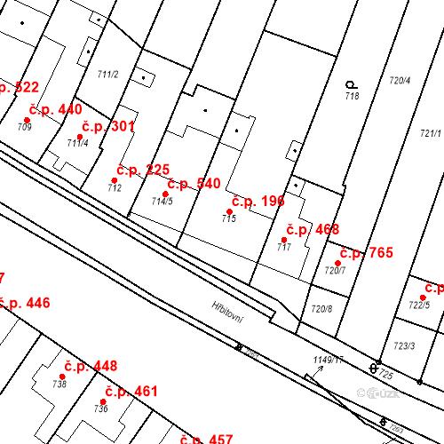 Katastrální mapa Stavební objekt Blučina 196, Blučina