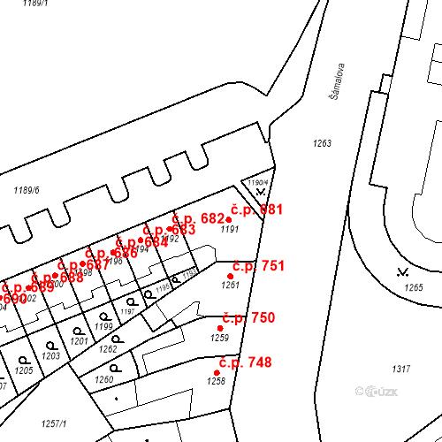 Katastrální mapa Stavební objekt Zábrdovice 681, Brno
