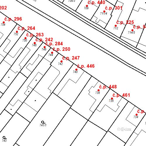 Katastrální mapa Stavební objekt Blučina 446, Blučina