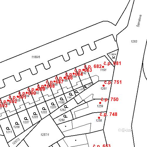 Katastrální mapa Stavební objekt Zábrdovice 683, Brno