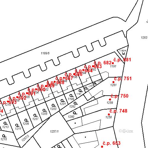 Katastrální mapa Stavební objekt Zábrdovice 684, Brno
