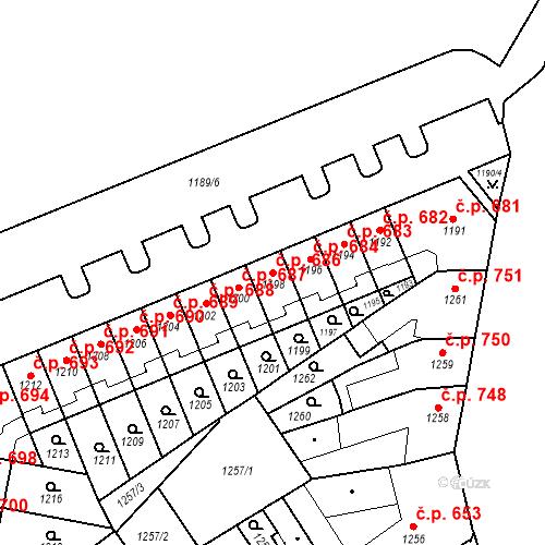Katastrální mapa Stavební objekt Zábrdovice 686, Brno