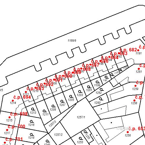 Katastrální mapa Stavební objekt Zábrdovice 688, Brno