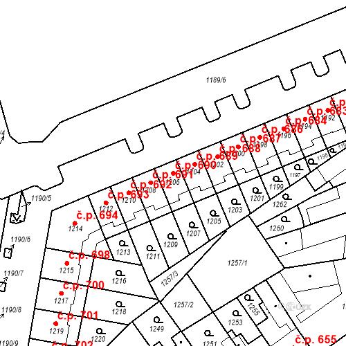 Katastrální mapa Stavební objekt Zábrdovice 690, Brno