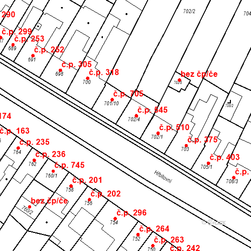 Katastrální mapa Stavební objekt Blučina 545, Blučina