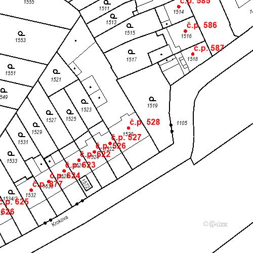 Katastrální mapa Stavební objekt Zábrdovice 528, Brno