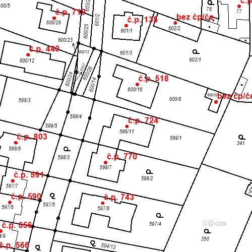 Katastrální mapa Stavební objekt Soběšice 724, Brno