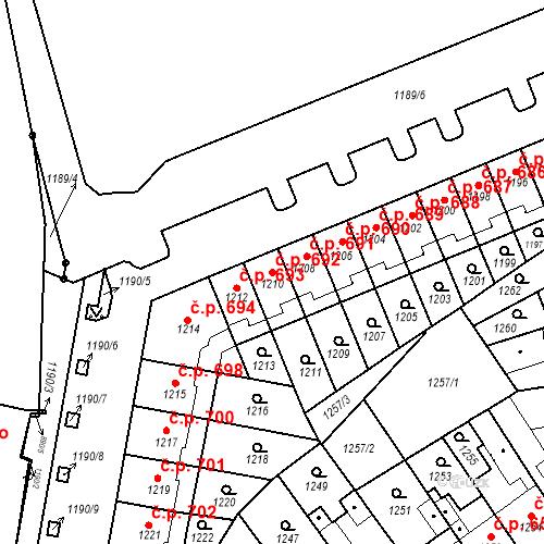 Katastrální mapa Stavební objekt Zábrdovice 692, Brno