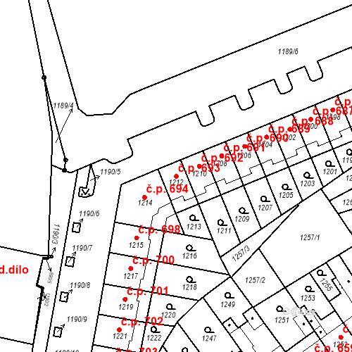 Katastrální mapa Stavební objekt Zábrdovice 693, Brno