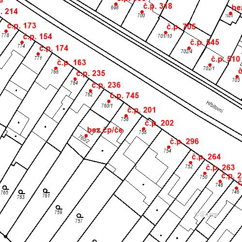 Katastrální mapa Stavební objekt Blučina 201, Blučina