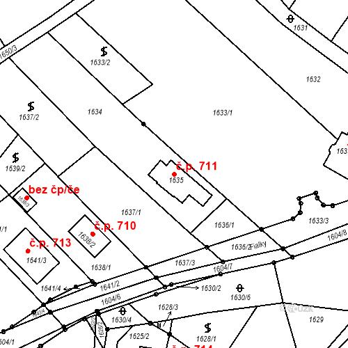 Katastrální mapa Stavební objekt Blučina 711, Blučina
