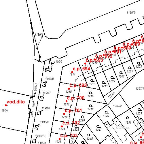 Katastrální mapa Stavební objekt Zábrdovice 694, Brno
