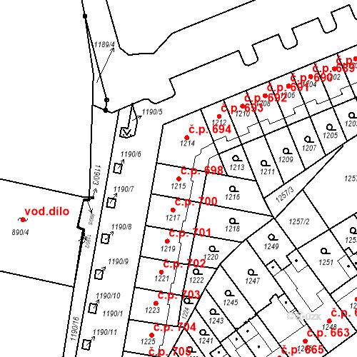 Katastrální mapa Stavební objekt Zábrdovice 698, Brno