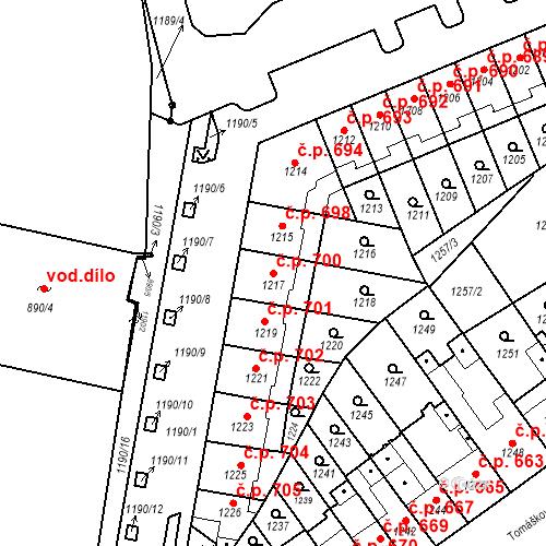 Katastrální mapa Stavební objekt Zábrdovice 700, Brno