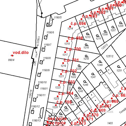Katastrální mapa Stavební objekt Zábrdovice 701, Brno