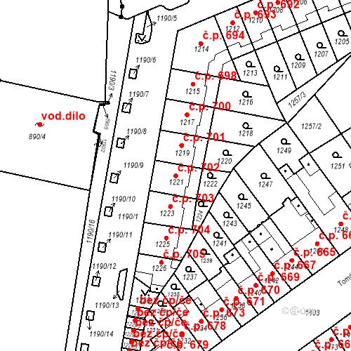 Katastrální mapa Stavební objekt Zábrdovice 702, Brno