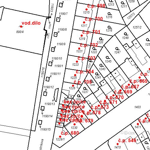 Katastrální mapa Stavební objekt Zábrdovice 704, Brno
