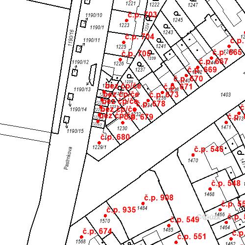 Katastrální mapa Stavební objekt Zábrdovice 679, Brno
