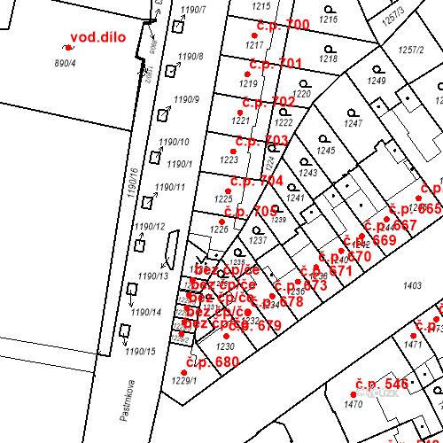 Katastrální mapa Stavební objekt Zábrdovice 705, Brno