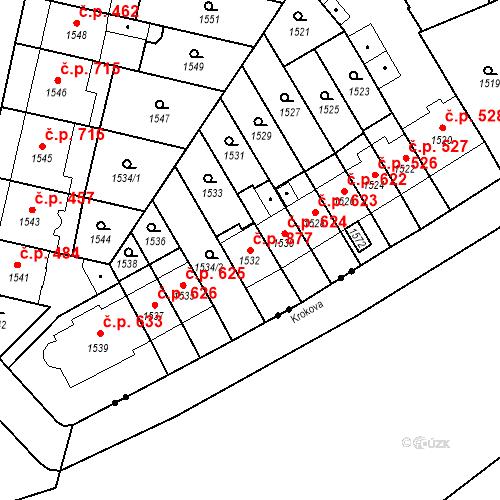 Katastrální mapa Stavební objekt Zábrdovice 877, Brno