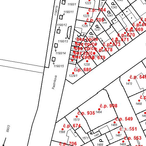 Katastrální mapa Stavební objekt Zábrdovice 680, Brno