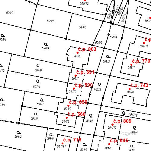 Katastrální mapa Stavební objekt Soběšice 591, Brno