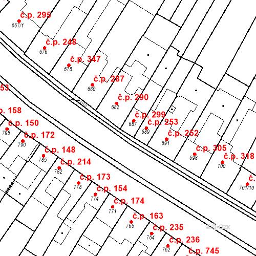 Katastrální mapa Stavební objekt Blučina 299, Blučina
