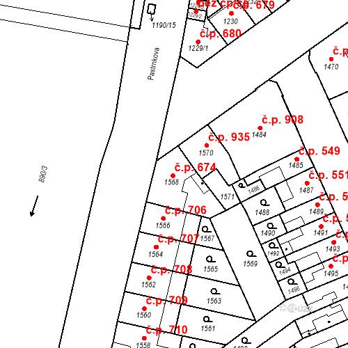 Katastrální mapa Stavební objekt Zábrdovice 674, Brno
