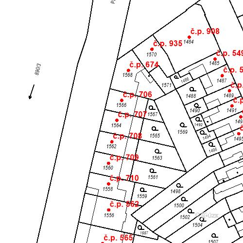 Katastrální mapa Stavební objekt Zábrdovice 707, Brno
