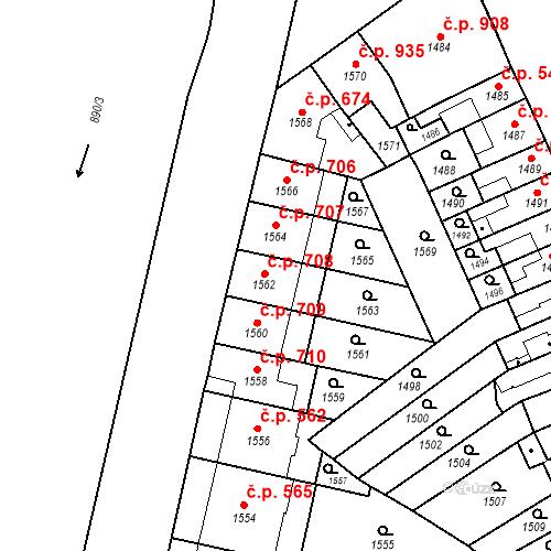 Katastrální mapa Stavební objekt Zábrdovice 708, Brno
