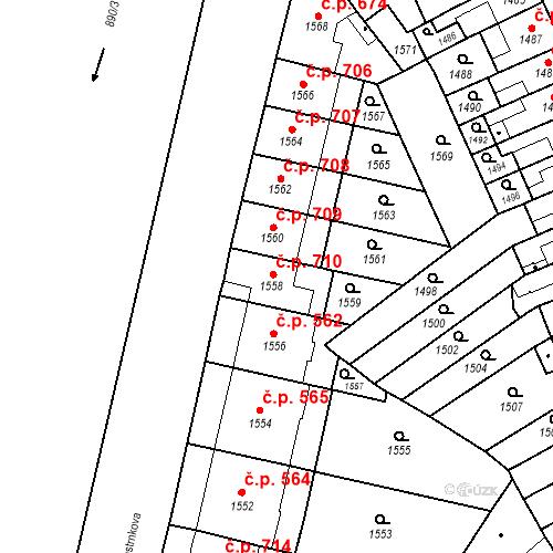 Katastrální mapa Stavební objekt Zábrdovice 710, Brno