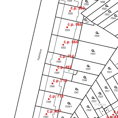 Katastrální mapa Stavební objekt Zábrdovice 714, Brno