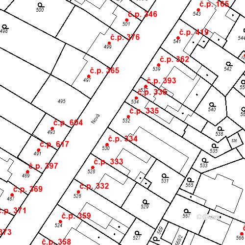 Katastrální mapa Stavební objekt Blučina 335, Blučina