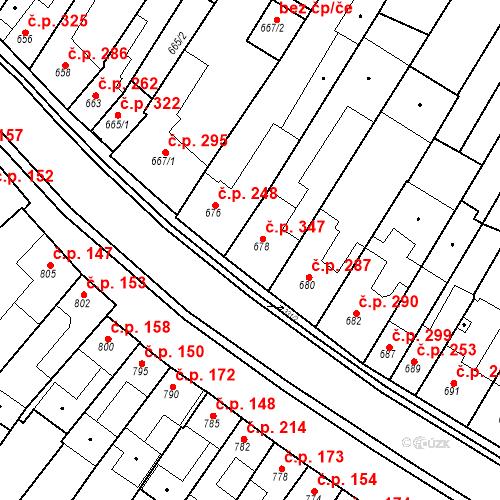 Katastrální mapa Stavební objekt Blučina 347, Blučina