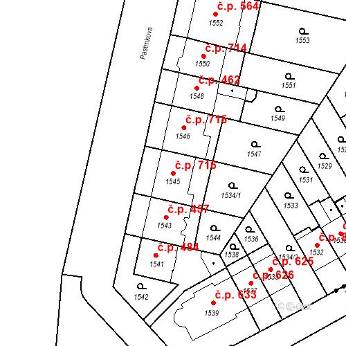 Katastrální mapa Stavební objekt Zábrdovice 716, Brno