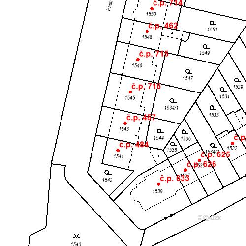Katastrální mapa Stavební objekt Zábrdovice 457, Brno