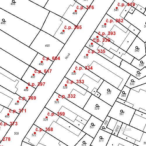 Katastrální mapa Stavební objekt Blučina 334, Blučina