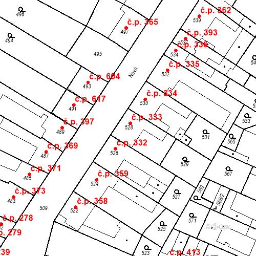 Katastrální mapa Stavební objekt Blučina 333, Blučina