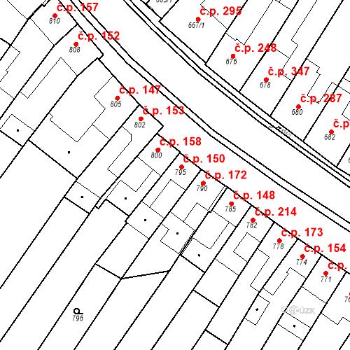 Katastrální mapa Stavební objekt Blučina 150, Blučina