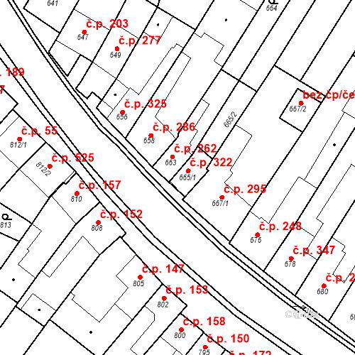 Katastrální mapa Stavební objekt Blučina 322, Blučina