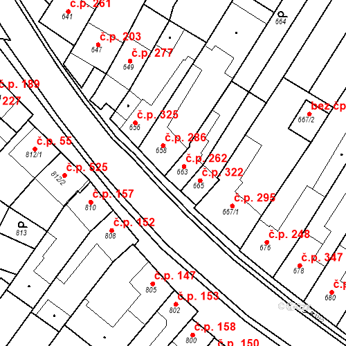 Katastrální mapa Stavební objekt Blučina 262, Blučina