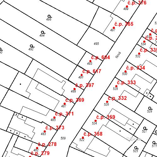 Katastrální mapa Stavební objekt Blučina 617, Blučina