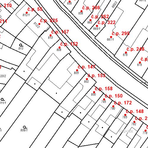 Katastrální mapa Stavební objekt Blučina 147, Blučina