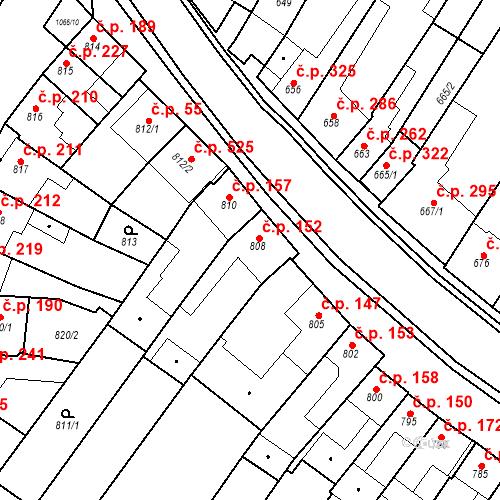 Katastrální mapa Stavební objekt Blučina 152, Blučina