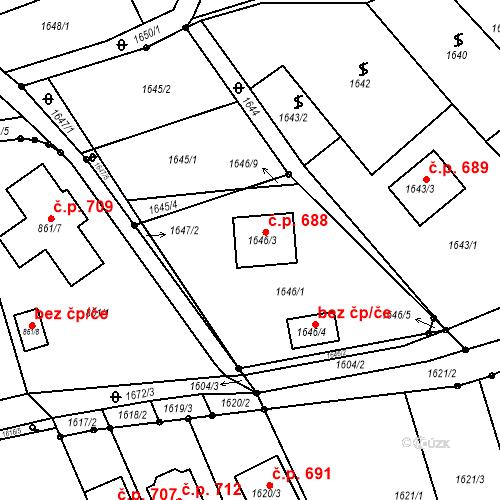 Katastrální mapa Stavební objekt Blučina 688, Blučina